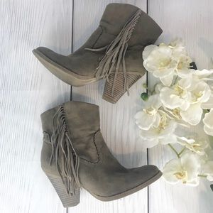 Mossimo Chocolate Brown Fringe Booties 8